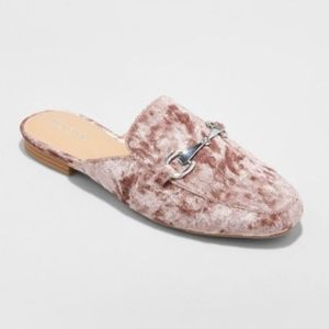 Merona Kona Flats Backless Mule Loafers New Velvet